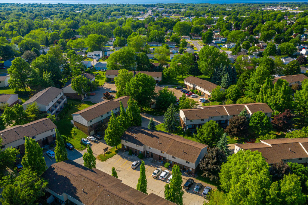 Aerial view of Willowood Village Apartments and Townhomes in Erie PA