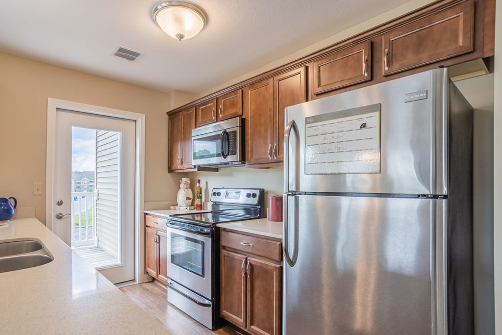 Apartment Kitchen with stainless steeel appliances